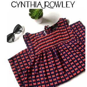 Cynthia Rowley • Navy Blue & Red Bowties Blouse